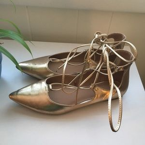 Metallic Rose Gold Lace Up Flats